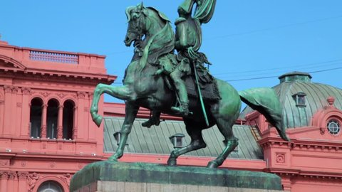 Statue of General Belgrano near the Casa Rosada in Buenos Aires in the capital of Argentina.