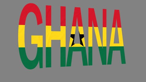 "The animated letters of the word ""Ghana"" in national colors are fluttering like a flag in the wind. This clip has an additional alpha matte that allows to get the background transparent."