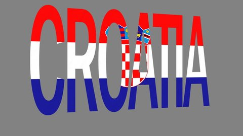 """The animated letters of the word """"Croatia"""" in national colors are fluttering like a flag in the wind. This clip has an additional alpha matte that allows to get the background transparent."""
