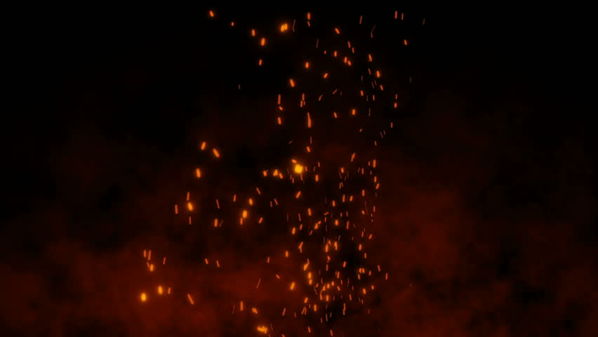 Burning hot bonfire fire sparks on a dark background. Cartoon fire Animation. Raging Cartoon Campfire Flames.Particles over black background.Flying Embers from fire. | Shutterstock HD Video #1027553186