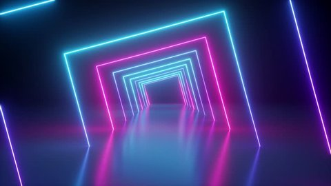 spinning around neon tunnel, blue pink light, moving fashion podium, abstract background, rotating frames, virtual reality, glowing lines, seamless animation