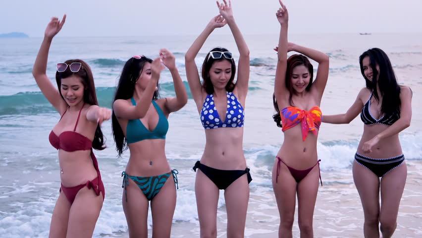 Asian women in bikini