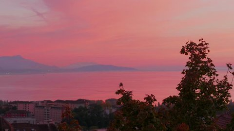 Pink Sunset over Lausanne