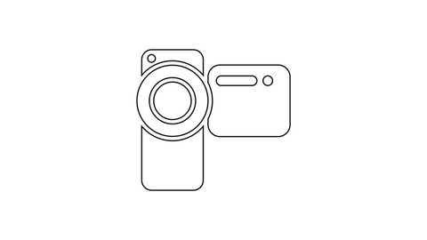 Grey Cinema camera line icon on white background. Video camera. Movie sign. Film projector. 4K Video motion graphic animation