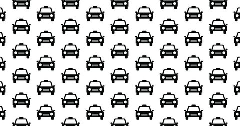 Taxi cab icons background clip motion backdrop video in a seamless repeating loop.  Black and white taxicab pattern background CGI high definition motion video clip