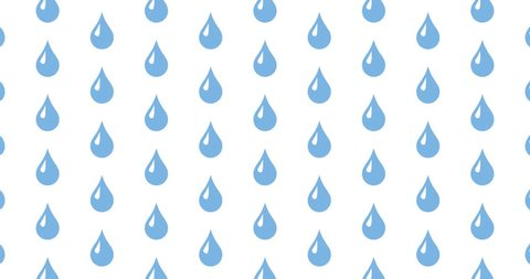 Rain drops background clip motion backdrop video in a seamless repeating loop.  Black and white blue color gradient rain water drop icon pattern background CGI high definition motion video clip