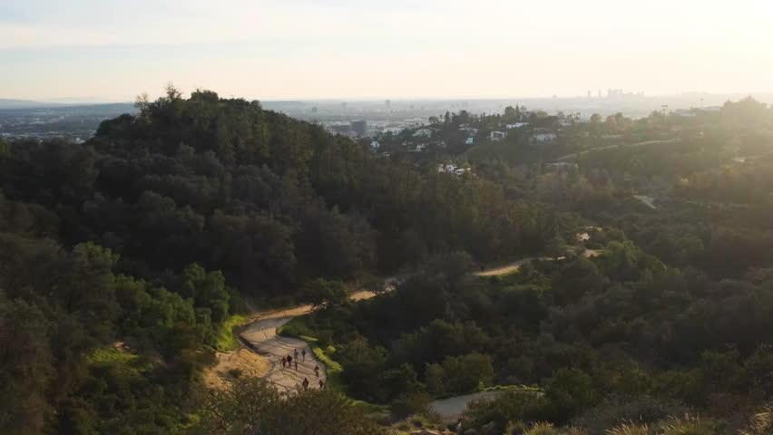 Sunset over Griffith Park trail vista   Shutterstock HD Video #1027779146