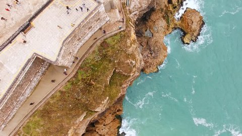 Aerial view of the Nazare Lighthouse in Portugal. Place of the biggest waves on the planet.