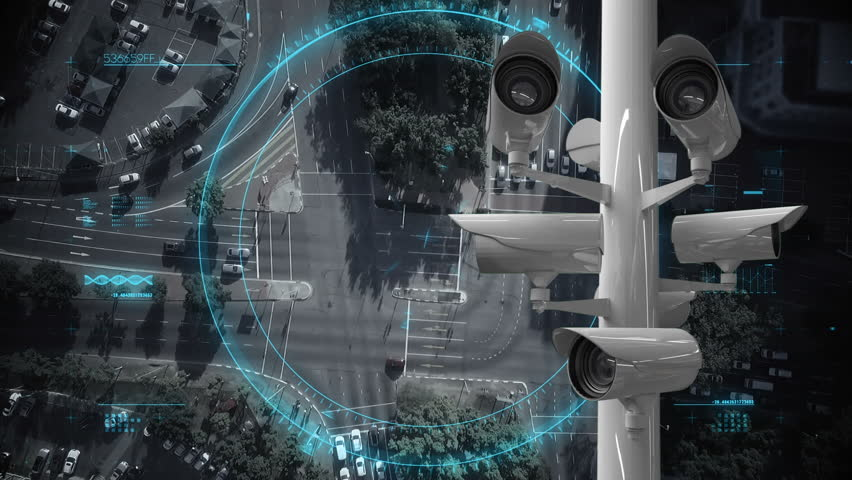 Digital composite of road and cars while surveillance cameras moves. | Shutterstock HD Video #1027805036