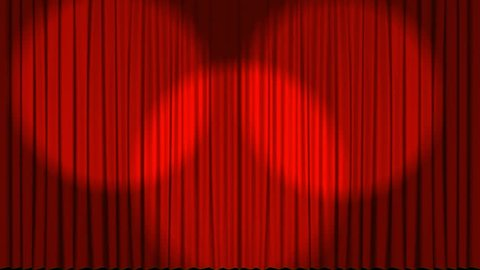 Front view of a theatre stage curtain opening to reveal a dark back stage with star effects
