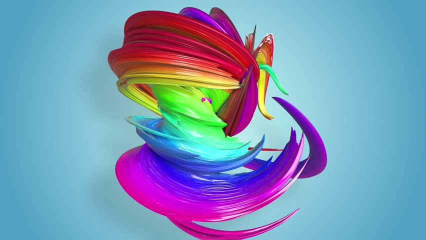 Abstract seamless background with multicolored ribbons. Rainbow stripes are moving in a circle and twisting.  | Shutterstock HD Video #1027926446