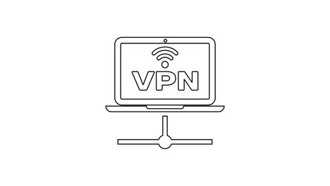 Black vpn computer network line icon on white background  laptop network   internet connection  4k video motion graphic animation