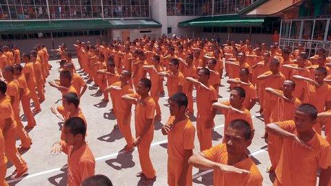 CEBU PROVINCIAL DETENTION AND REHABILITATION CENTER, CEBU, PHILIPPINES - March 2016. The Cebu Provincial Detention and Rehabilitation Center practice for a dance video.