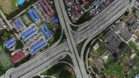 Johor Bahru Expressway, Tampoi and Permas Jaya ariel view in the morning the traffic is not crowded