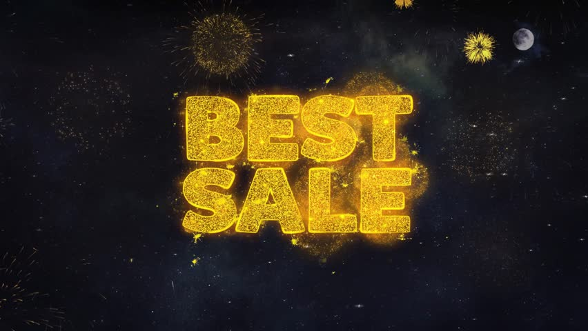 Best Sale Text Typography Reveal From Golden Firework Crackers Particles Night Sky 4k Background. Greeting card, Celebration, Party, Invitation, Gift, Event, Message, Holiday, Wish, Festival  | Shutterstock HD Video #1028090276