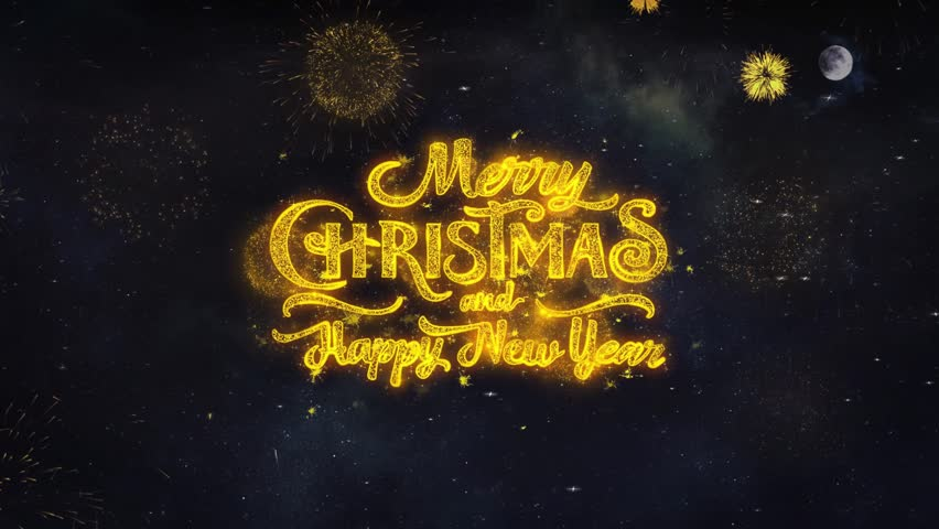 Merry Christmas Happy New Year Text Typography Golden Firework Crackers Particles 4k Background. Greeting card, Celebration, Party, Invitation, Gift, Event, Message, Holiday, Wish Festival  | Shutterstock HD Video #1028090396