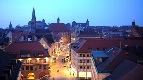 Time Lapse Establishing Shot Aerial View of Nuremberg City Skyline Dusk to Night
