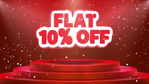 Flat 10% off Text Animation on 3d Stage Podium Carpet. Reval Red Curtain With Abstract Foil Confetti Blast, Spotlight, Glitter Sparkles, Loop 4k Animation.
