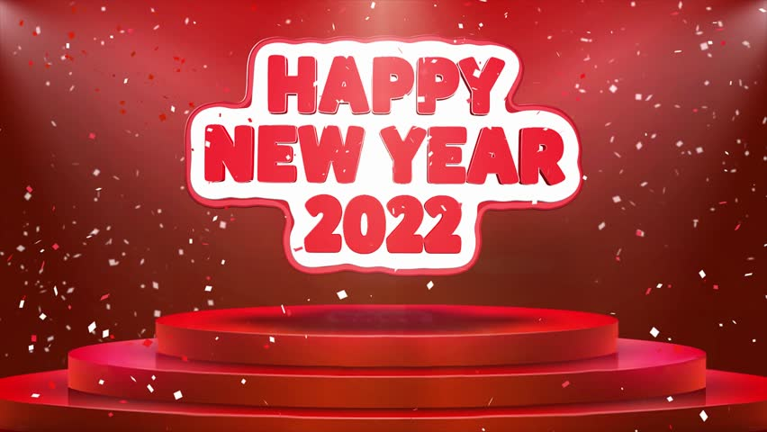 Happy New year 2022 Text Animation on 3d Stage Podium Carpet. Reval Red Curtain With Abstract Foil Confetti Blast, Spotlight, Glitter Sparkles, Loop 4k Animation. | Shutterstock HD Video #1028130236