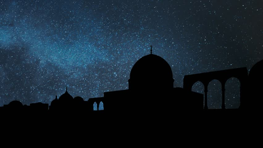 Dome of the Rock (Qubbat al-Sakhrah) by Night with Stars and Milky Way, Islamic shrine on Temple Mount in the Old City of Jerusalem, Israel | Shutterstock HD Video #1028152766