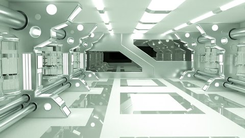 Clean sterile futuristic science fiction interior of a laboratory or spaceship. Generic technology and advanced engineering motion background. 3D rendering.