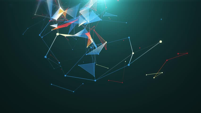 Abstract blue geometrical lines with moving triangles and dots on a black background. Loop animations. 4k   Shutterstock HD Video #1028183936