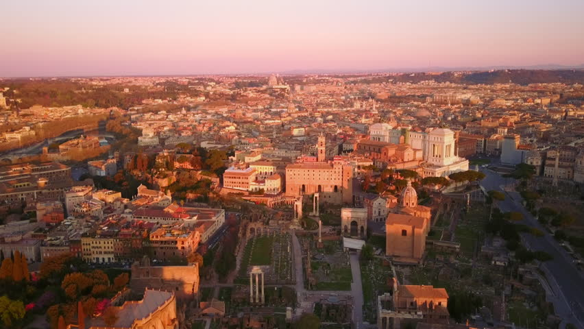 Rome aerial shot of roman forum fly over skyline tilt down at dawn | Shutterstock HD Video #1028188586