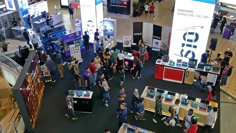 Kuala Lumpur,Malaysia - April 20,2019 : Lowyat Plaza is a shopping centre specializing in electronics, gadgets, laptops, smartphones and accessories. People can seen exploring around it.