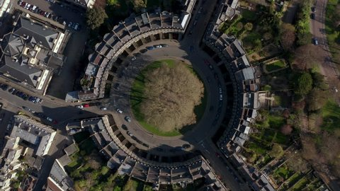 Aerial footage of the circus located in the city of Bath (UK)