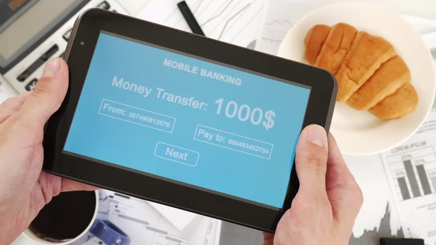 Businessman makes a money transfer through a mobile bank. Internet banking. Business lunch. Custom blue interface design | Shutterstock HD Video #1028255516