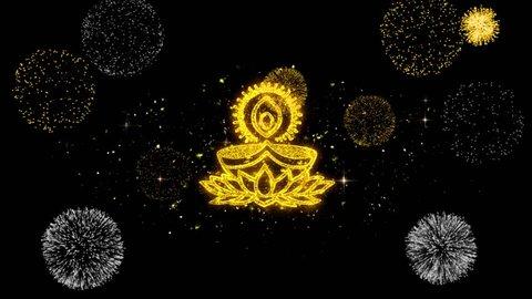 Deepak Diya Lamp Symbol Element Sign Golden Greeting Text Appearance Blinking Particles with Golden Fireworks Display 4K Background