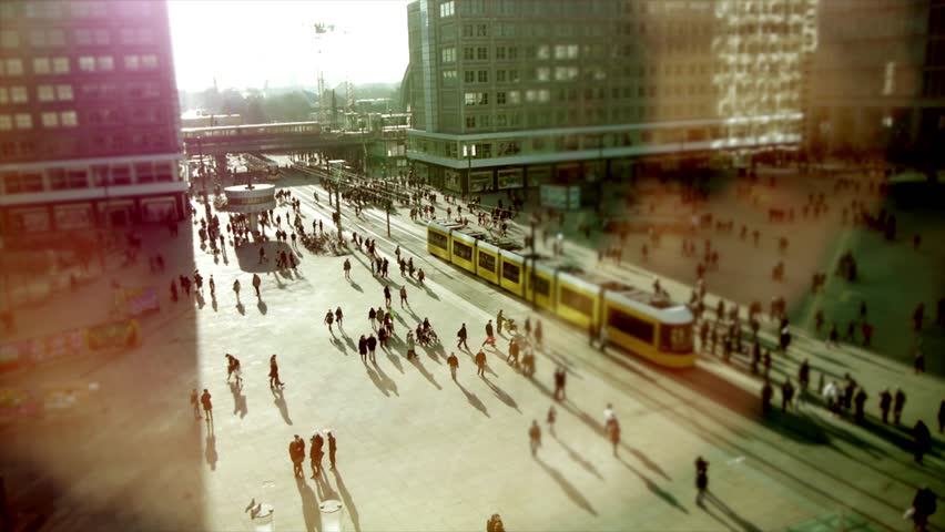 Pedestrians Commuting in Urban City Metropolis Background #1028342486