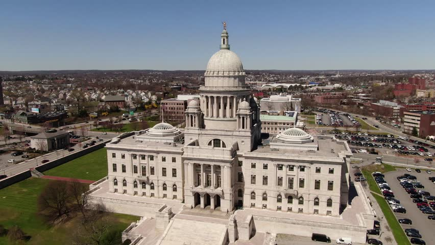 Providence, Rhode Island / USA : April 1, 2019 : Aerial of the landmarks, sites and architecture in Providence, Rhode Island | Shutterstock HD Video #1028351756