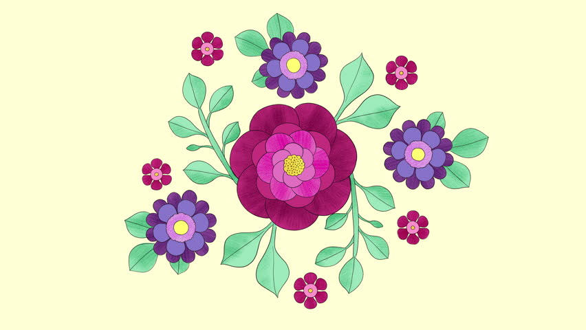 2D hand drawn animation, growing floral background with colourful flowers and leaves. Frame by frame. Blooming pattern, outline. 4k looping animation. | Shutterstock HD Video #1028379866