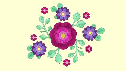 2D hand drawn animation, growing floral background with colourful flowers and leaves. Frame by frame. Blooming pattern, outline. 4k looping animation.