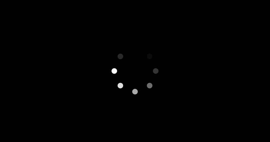4K LOADING WHITE CIRCLE ON BLACK BACKGROUND #1028384786