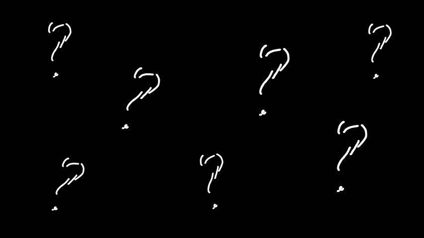 Hand drawn set of doodle question marks. 2D hand drawn animation to overlay on your video  background. Cartoon sketch style interrogation ask questions drawn by white pen | Shutterstock HD Video #1028387846