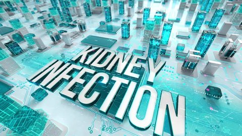 Kidney Infection with medical digital technology concept