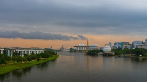 Time lapse of sunrise and clear sky at Iron Mosque in Putrajaya, Malaysia with from night to day.