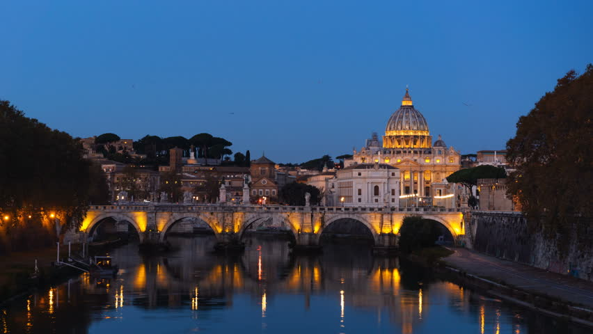 Hyper lapse of St. Peter's Basilica, Sant Angelo Bridge, Vatican, Rome, Italy | Shutterstock HD Video #1028540216
