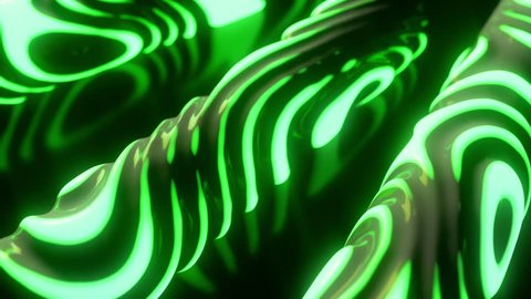 Glowing neon light shapes. Abstract background. Surface with wavy ripples. Motion design template. Cylinders with strobing curly pattern. 3d loop animation. Alien radioactive substance. 4K UHD
