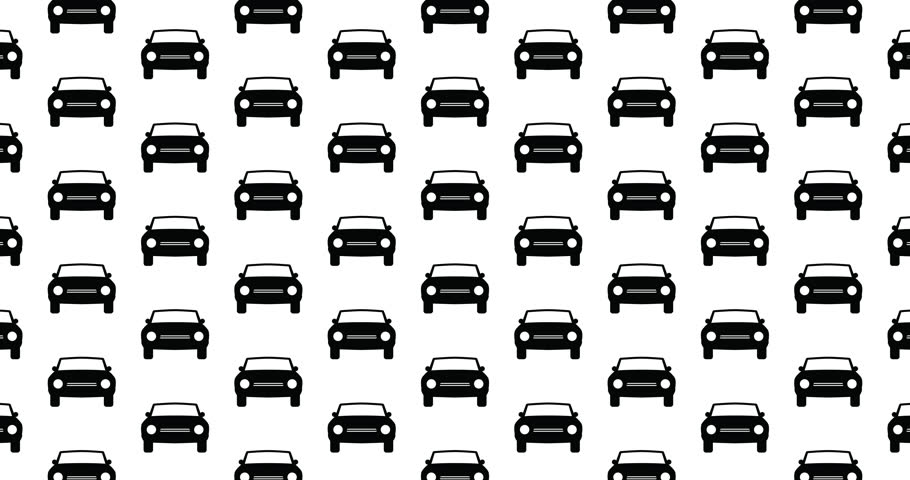 Flat illustrated car icons background video clip motion backdrop video in a seamless repeating loop. Black and white car icon illustration background automotive themed high definition motion clip
