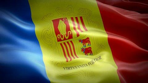 Andorra flag video waving in wind. Realistic Andorra Flag background. Andorra Flag Looping Closeup 1080p Full HD 1920X1080 footage