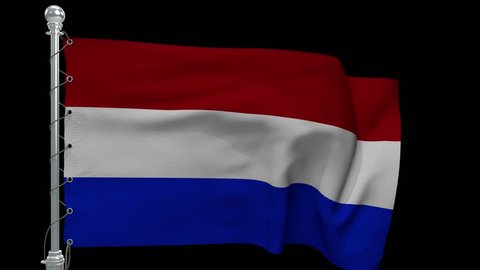 Netherlands Flag with black background flying 4k video, football, backdrop, waving flag seamless loop animation sign of dutch