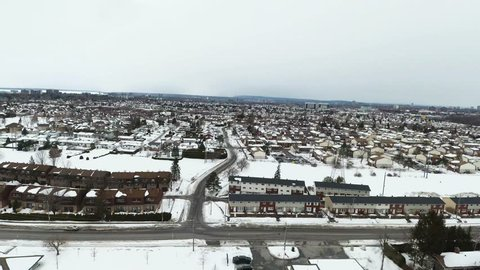 Aerial footage in winter of residential area of Nepean, Ottawa, Ontario, Canada.
