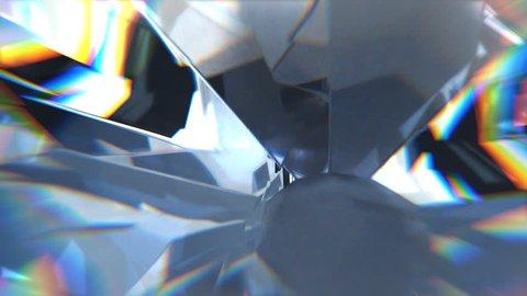 Close-up view on shiny rotating diamond.