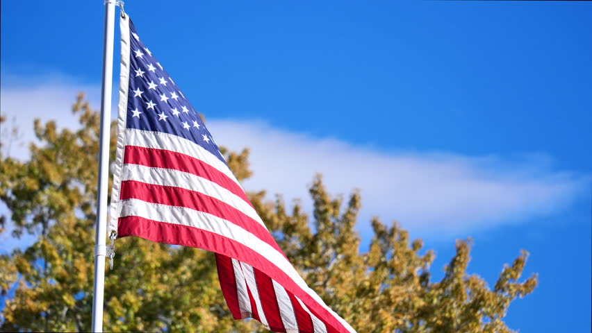 American flag blowing in the breeze with beautiful blue skies and fall trees in background. | Shutterstock HD Video #1028728136