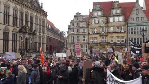 Bremen, Germany - 03 23 2019: Protesters-against-EU-Copyright-Reform and Uploadfilters demonstrating in front of the town hall in Bremen