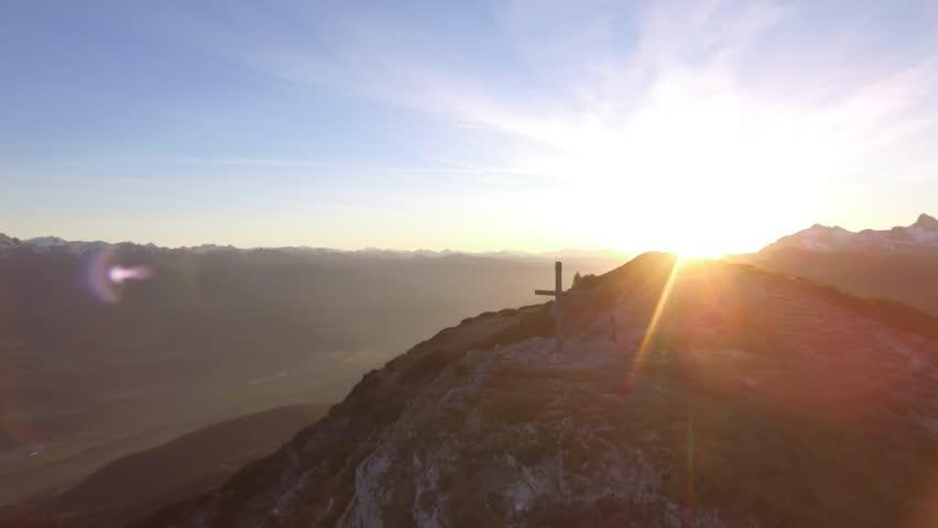Aerial Drone Footage: Flight over autumn mountains, sunset, summit   Shutterstock HD Video #1028736626