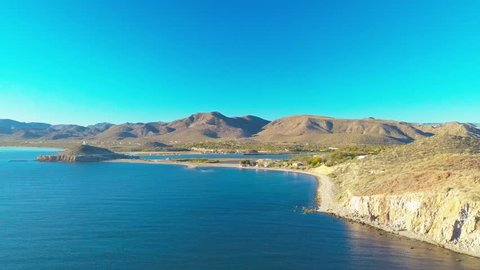 Aerial view of the stunning Sea of Cortez scenery around Mulege in Baja California, Mexico.